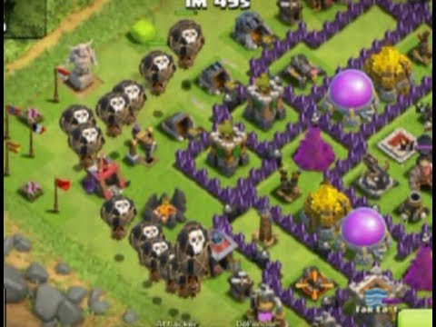 clash of clans the best attack strategy with balloon and Minion max level