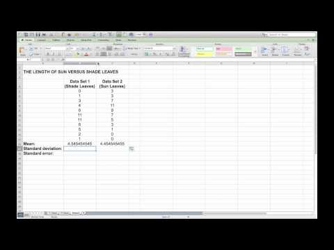 Calculating mean, standard deviation and standard error in Microsoft Excel