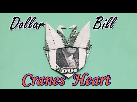 Awesome Dollar Bill Origami Heart with Two Cranes | DIY How to Fold $1 Money Origami Cranes Heart