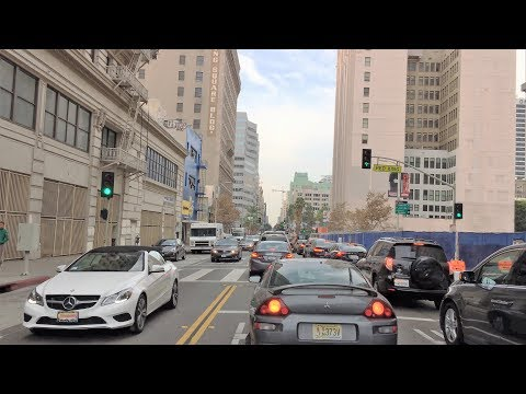 Driving Downtown 4K - LA's Famous Square - Los Angeles USA