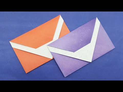 Easy Paper Envelope making tutorial without Glue and Tape - Origami Envelope instruction