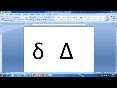 How to type delta symbol in word