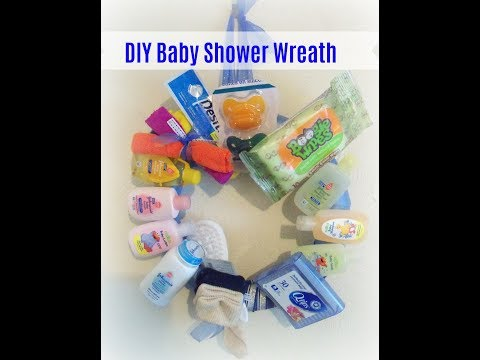 How to make a baby Shower gift wreath/ Dollar Store Baby gift ideas