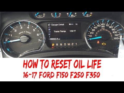 Reset Oil Life 2016-2017 Ford F150 F250 F350 Pickup Oil Change