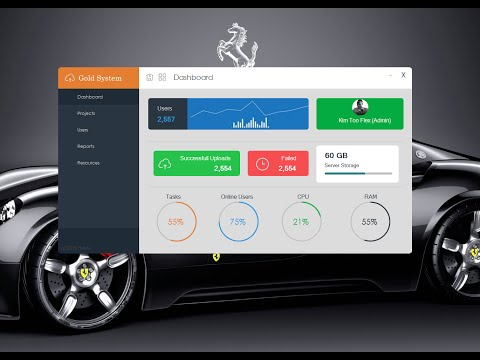 C#, Modern Flat UI Dashboard Windows Form Visual Studio - Design Bunifu.NET -