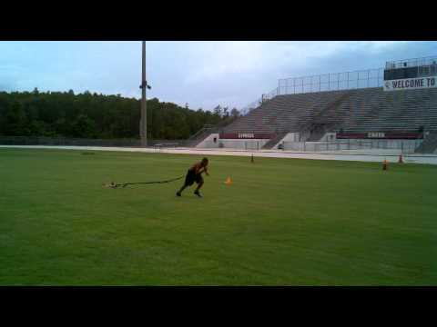 CJ training with football sled 06/28/11