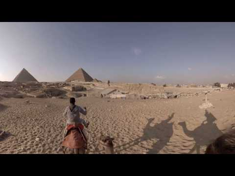 360 video: Camel Ride near Pyramids of Giza, Cairo, Egypt