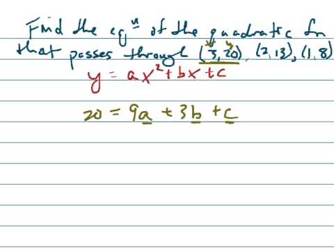 Find quadratic function given 3 points