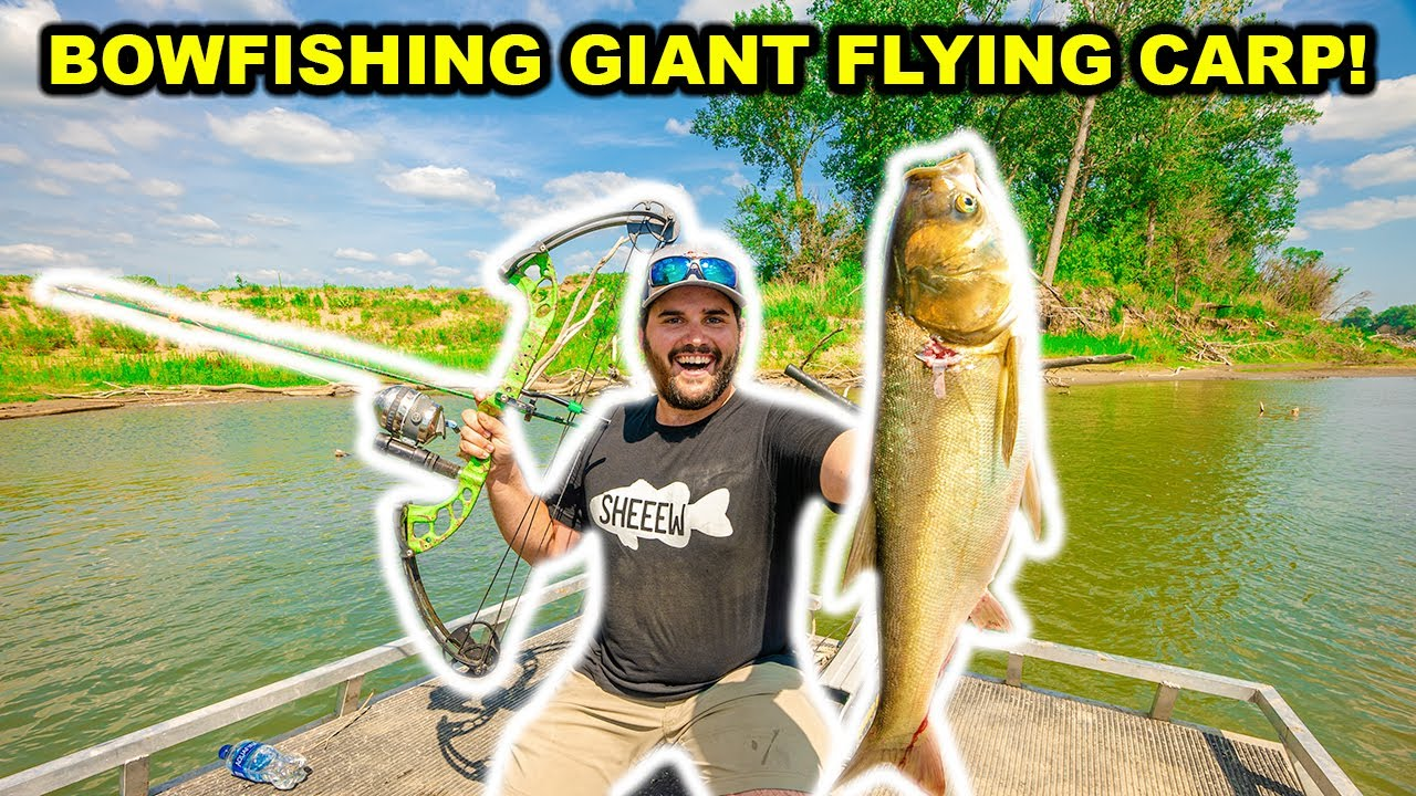 BOWFISHING Giant FLYING ASIAN Carp on the RIVER!!! (Catch Clean Cook)