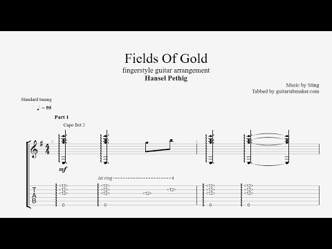 Fields Of Gold TAB - acoustic fingerstyle guitar tab - PDF - Guitar Pro