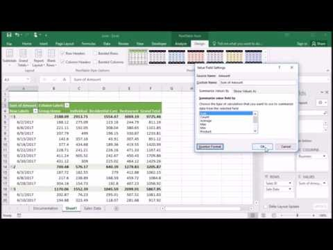 535 Format Amount Field in PivotTable as Currency in Excel 2016