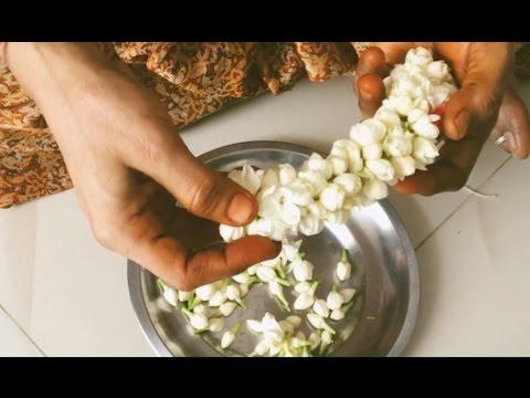 String Jasmine Flower Garland - Easy Method to String Flowers