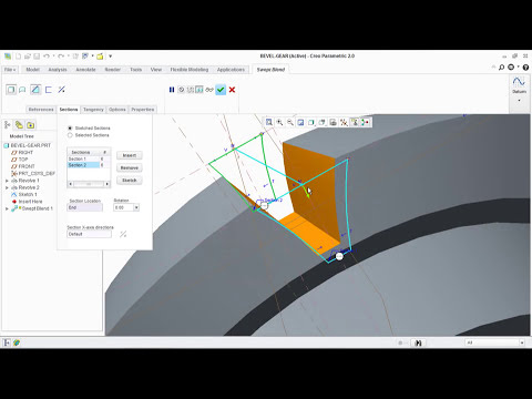 How to design a Bevel Gear in Pro-E / CREO Parametric 2 0