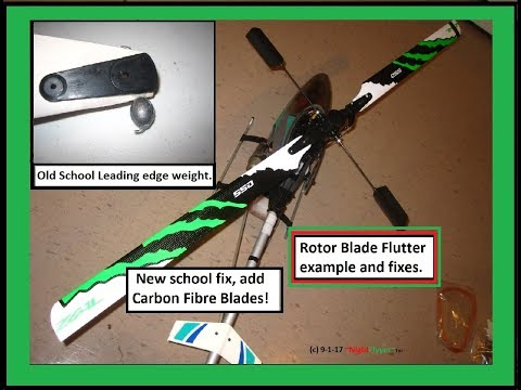 My Rotor Blade flutter on this Old School Helicopter was fixed with lead fishing weight.