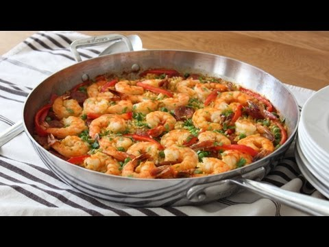 Quick & Easy Paella - Oven Baked Sausage & Shrimp Paella Recipe