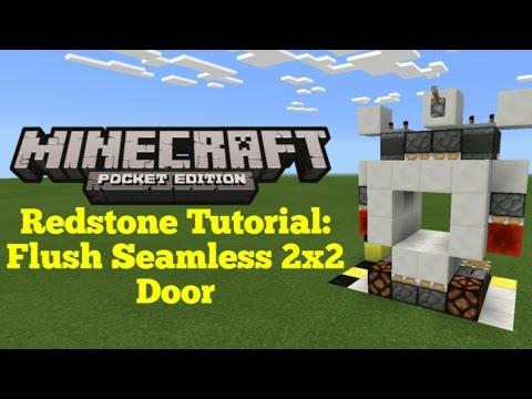 Minecraft Pocket Edition Redstone Tutorial: Flush Seamless 2x2 Piston Door (MCPE 1.1.0)