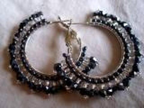 Brick bicone hoop earrings