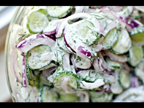 Cuke Salad with Sour Cream Dill Dressing