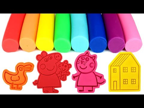 Peppa Pig Play Doh Molds Candy Cat Peppa's House George Pig Mrs Duck Polly Parrot Nursery Rhymes