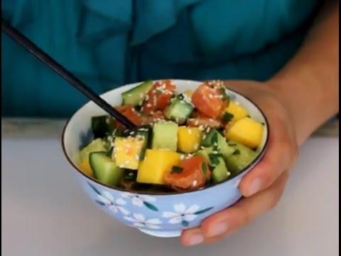 Mango Salmon Poke Avocado Bowls