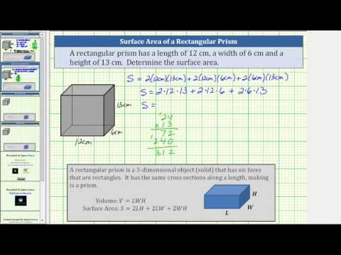 Determine the Surface Area of a Rectangular Prism (Whole Numbers)