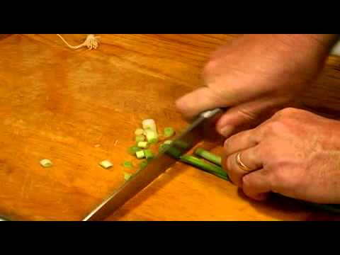 Cutting Green Onion for Stuffed Mirlitons
