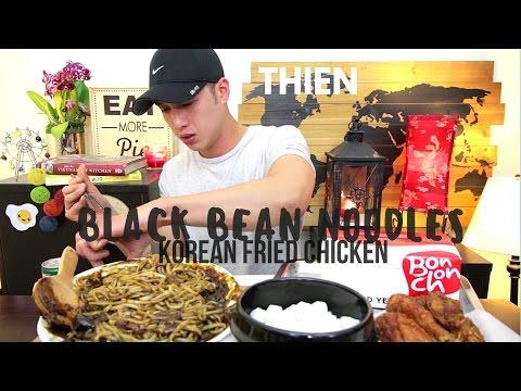[mukbang with THIEN]: Black Bean Noodle (jajangmyeon) and Korean Fried Chicken (Bonchon)
