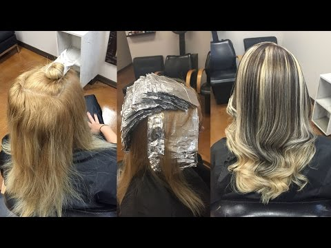Brassy gold to Chunky Black and Blonde Highlights