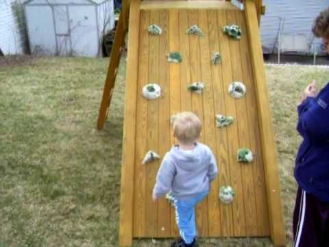 Logan & Swingset 1: trying rock wall