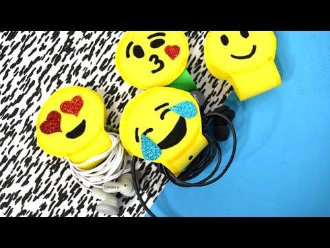 {DIY} Emoji Ear buds/Headphones Holders 🎧 Easy Crafts