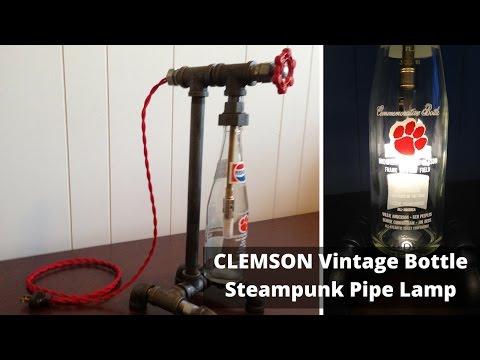 Clemson Tiger Vintage Bottle Industrial Pipe Table Lamp