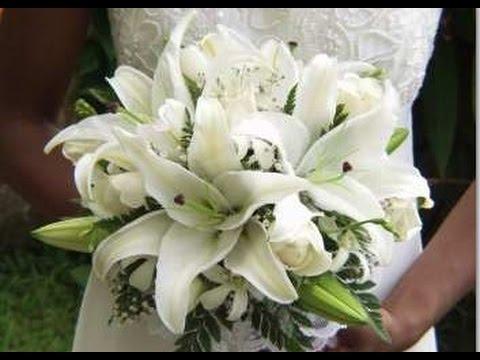 White Stargazer Lilies Wedding Bouquets