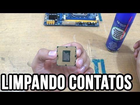 Limpando contatos do processador do computador