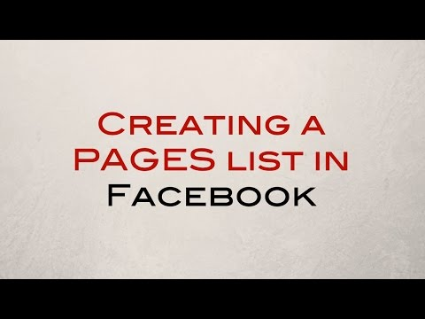 Creating a PAGES list in Facebook