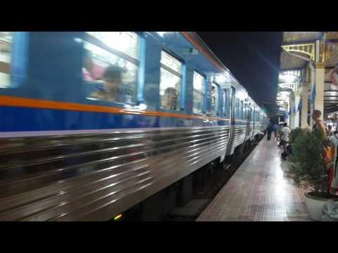 Trains one evening SRT Ayutthaya Railway Station (สถานีรถไฟจังหวัดพระนครศรีอยุธยา) Thailand Aug 2016
