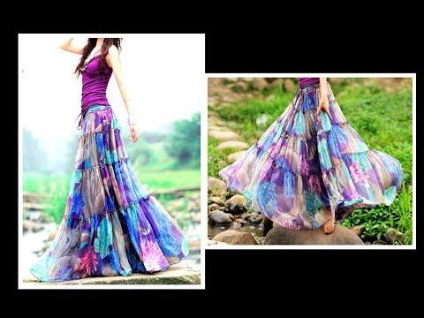 GYPSY Skirt ( Convert Old Sari to GYPSY SKIRT) Drafting, Cutting & Stitching  EASY METHOD