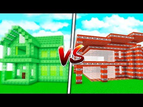 SLIME HOUSE VS. TNT HOUSE! - MINECRAFT