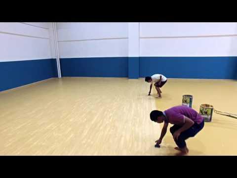 Construction of wooden texture basketball court flooring