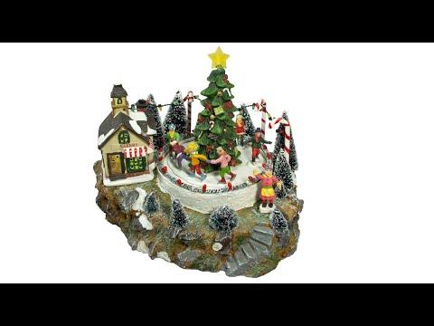 Illuminated Villages - Skating Around The Christmas Tree - 26cm - The Christmas Warehouse