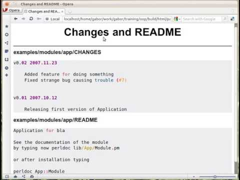 Changes and README file in a Perl distribution