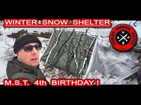 Winter Snow Shelter / HIDDEN OVERNIGHT 5