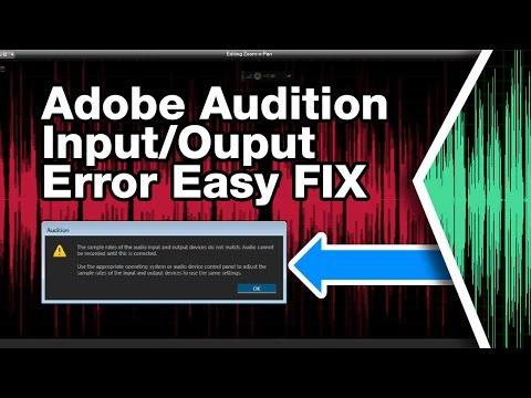 Adobe Audition CS6 CC Error Fix (input and output sample rates do not match error)