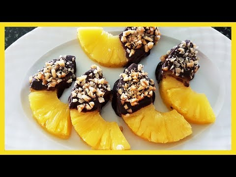 How to Make Pineapple Slices with Chocolate | Chocolate Dipped Pineapple Recipe