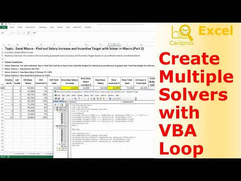 How to Create Multiple Solvers with VBA Loop Function