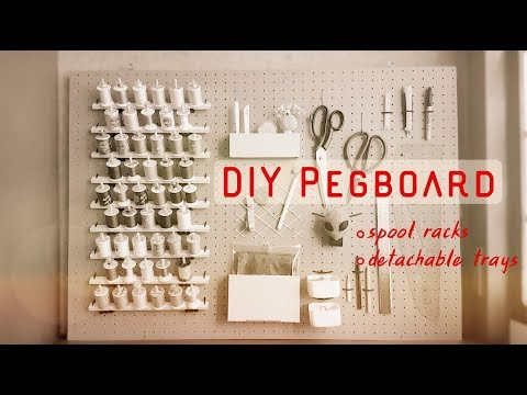 DIY Pegboard Frame with Spool Racks & Detachable Trays