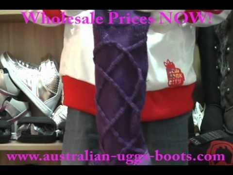 Winter UGG Australia Argyle Knit Snow Boots for Women in Purple Australian-uggs-boots