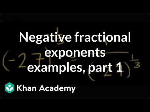 Negative fractional exponent examples   Algebra I   Khan Academy