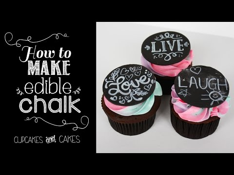 How to Make Edible Chalk  - Blackboard Cake and Cupcakes Tutorial