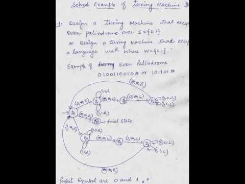 TURING MACHINE OF EVEN PALINDROME