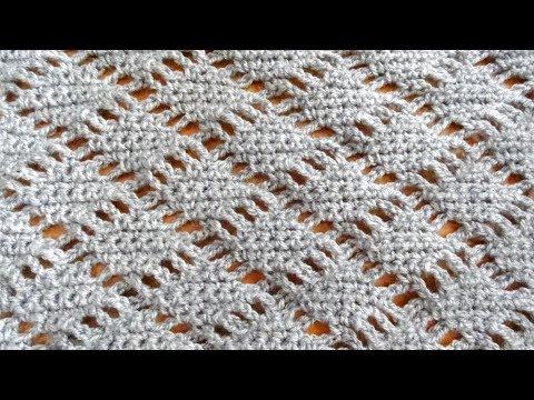 Diamond Lace Crochet Stitch - Right Handed Crochet Tutorial